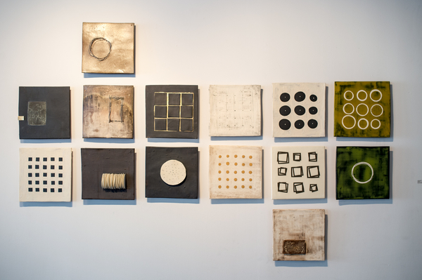 "Installation of Twelve Inch Squares        92""x62""