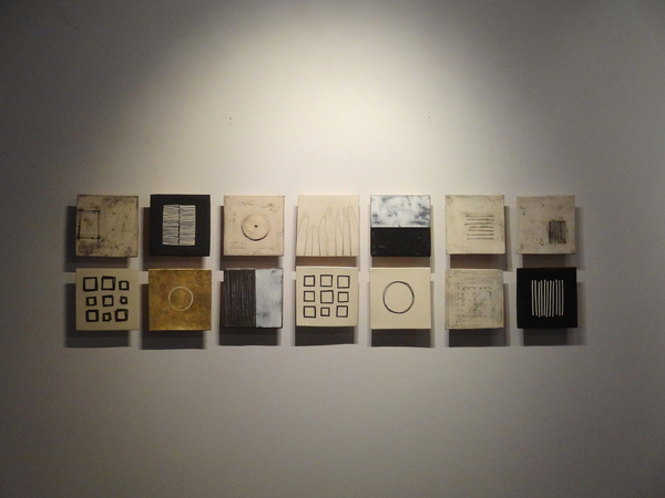 Installation of Ten Inch Squares : Portfolio  : Lori Katz Ceramic Design | Ceramic Wall Art